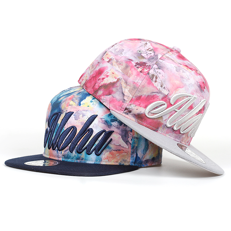 Flower ALOHA   baseball     cap   snapback hip hop hats men women sun   cap   gorras high quality fitted flat bill snapback   caps   garros