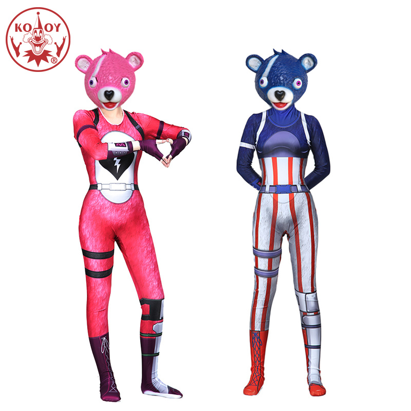 New Fortress night Game Battle Royale Team Leader Pink Bear Cosplay Costume Fortnight  Bear Halloween Costume for women Adult