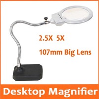 2.5X 5X 107mm Desk Table Lamp Magnifier Reading Led Reading Circuit board maintenance Welding Magnifying Glass Cellphone Repair