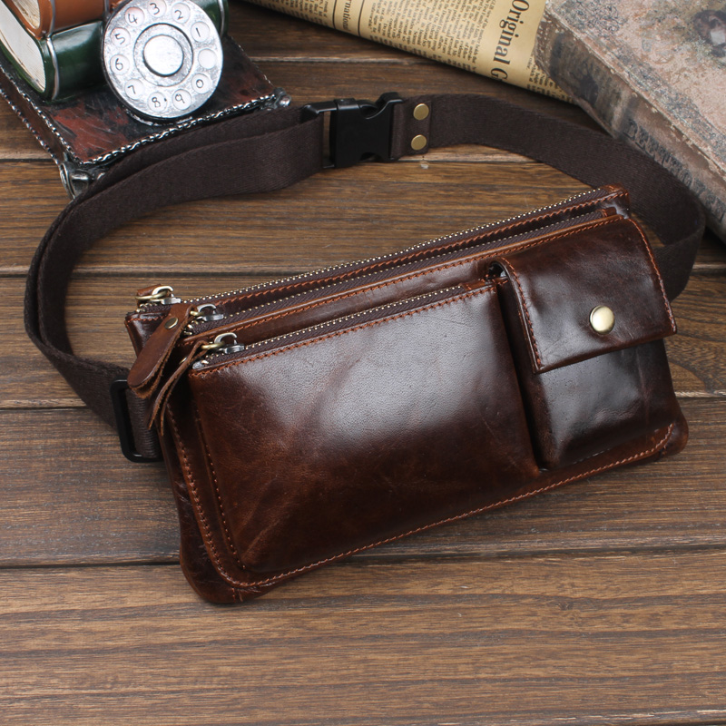 Men Oil Wax Genuine Leather Cowhide Vintage Travel Riding motorcycle Hip Bum Belt Pouch Fanny Pack Waist Purse Clutch Bag цена