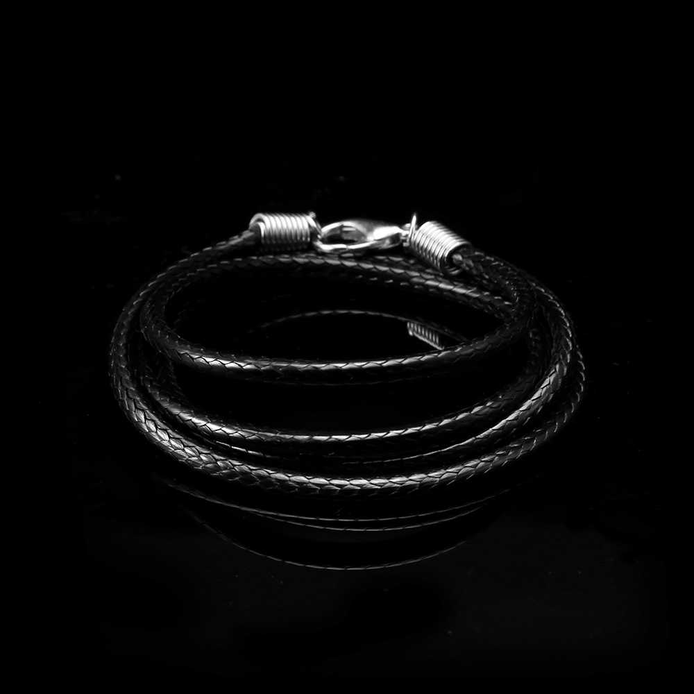 Men Necklace PU Leather Chain Necklace For Women Black Handmade Braided Cord Pendant Chain Fashion Jewelry Rope Length 40-90 cm