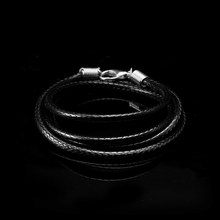 Men Necklace PU Leather Chain Necklace For Women Black Handmade Braided Cord Pendant Chain Fashion Jewelry Rope Length 40-90 cm(China)