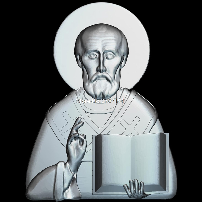 St. Nicholas 3d Model For Cnc STL Format Religion 3d Relief Model STL Router 3 Axis Engraver ArtCam