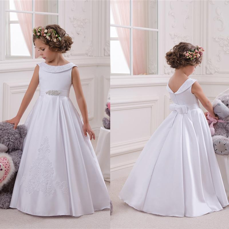 Fashion A Line White   Flower     Girl's     Dresses   Appliques Beads Floor Length Satin Pageant Gowns with Bowknot for Wedding Party