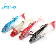 Bobing 4Pcs/lot 6.5cm 8g PVC Colorful Lead Head Soft Fishing Bait Lure With Treble Hook and Barb Spinner Spinners
