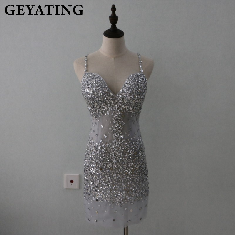Sparkly Beaded Crystals Silver Gray Short Cocktail Dresses 2019 Sexy Spaghetti Straps Backless See Through Party Prom Dress