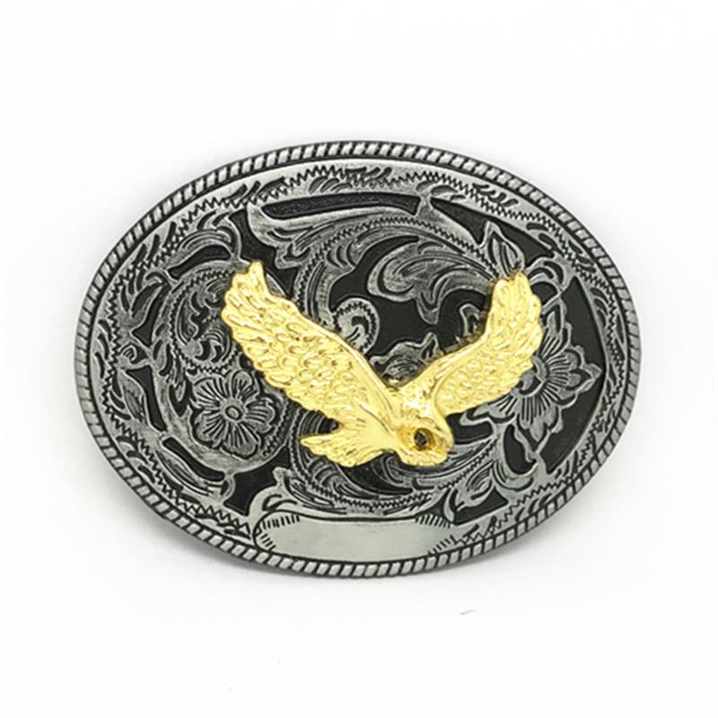 Western Cowboy Retro Zinc Alloy Gold Plated Eagle Belt Buckle Big Mens
