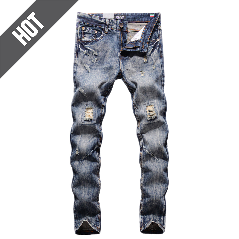 Hot Sale Mid Stripe Slim Fit Men`s Patch Jeans Denim Pants High Quality Dsel Brand Clothing Designer Ripped Jeans Men 29-40 Y604 streetwear mens patch jeans slim fit denim jeans ripped pants high quality recommend new famous brand jeans men trousers 7044