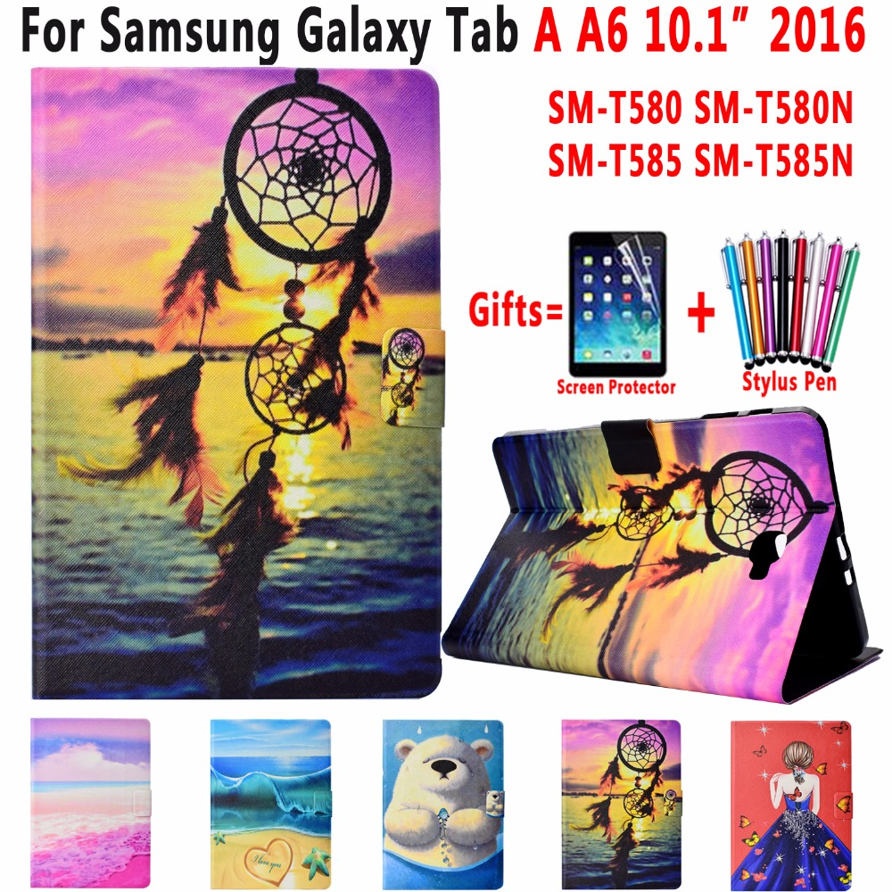 Fashion Painted Leather Cover Case For Samsung Galaxy Tab A 10.1 2016 Case T580 T585 T580N SM-T580 SM-T585N Coque Capa Funda
