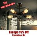Luces Ventilador de techo de estilo balcón moda vintage lámparas de Techo luz ventilador de Techo negro E27 bombillas