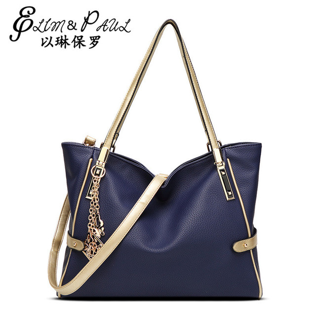 ELIM&PAUL Brand 5 Colors Fashion 2017 Leather OL Style Women High Quality PU Leather Female Handbags Famous Casual Tote Sac