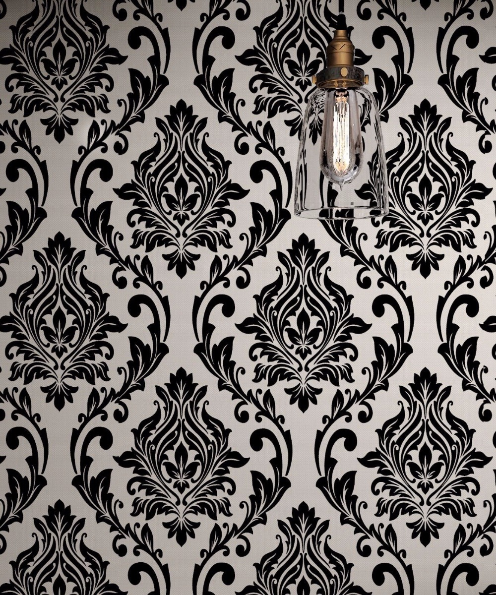 Black and White Damask Wallpaper Rolls Velvet Flocked Textured Victorian Decor velvet flocked
