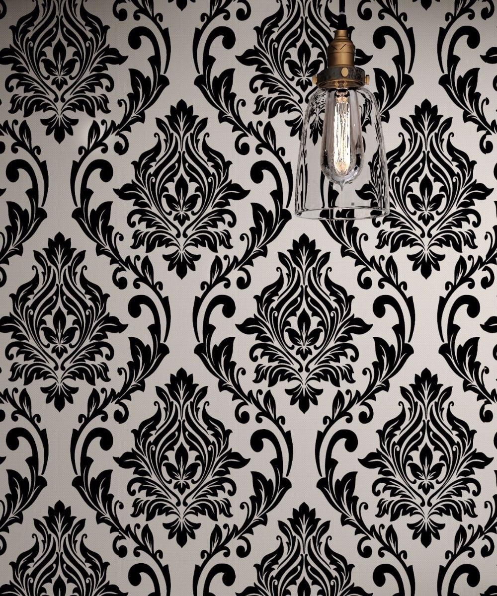 Black And White Damask Wallpaper Rolls Velvet Flocked