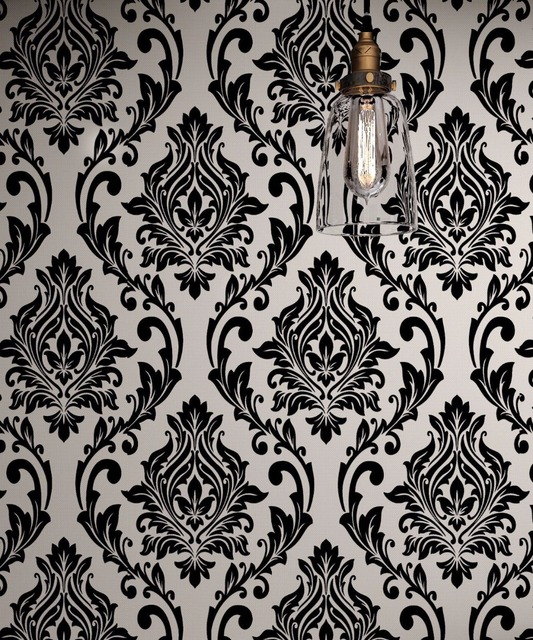 Black And White Damask Wallpaper Rolls Velvet Flocked