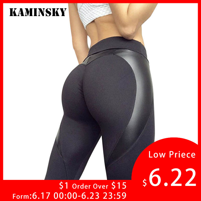Women High Waist Black Leggins Push Up Sexy Hip Patchwork Leather Pants Bodybuilding Sportswear   Leggings   Ladies Autumn   Leggings