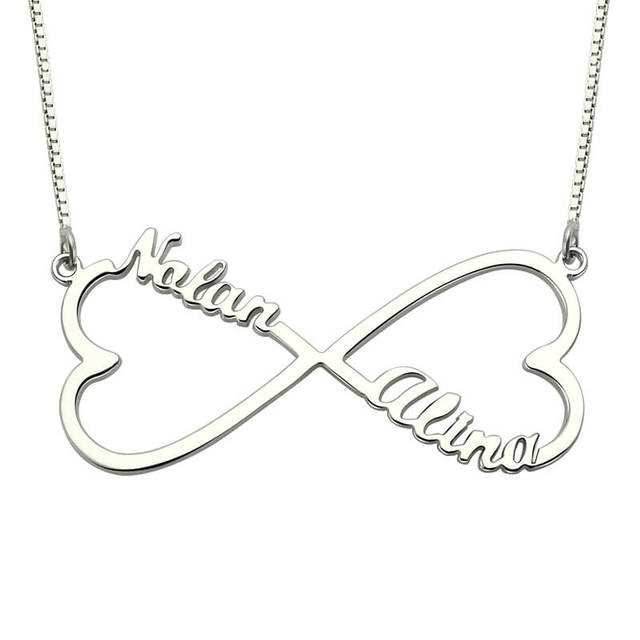 Personalized Heart Infinity Name Necklace Silver Love Heart Necklace