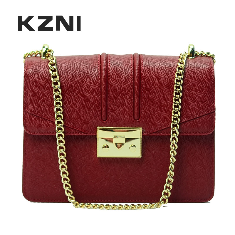 KZNI Genuine Leather Cross Shoulder Bags with Chain Women Handbags Women Famous Brands Classic Flap Bag Sac a Main Femme 9016