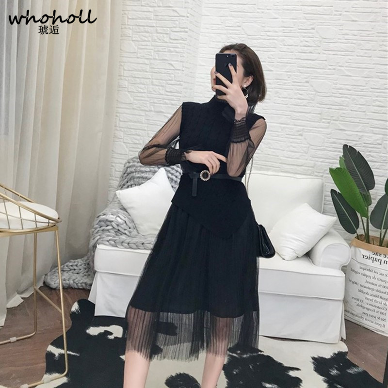 WHOHOLL 2019 Spring Summer Dress Women Lace Mesh Perspective Long Sleeve Party Dress Belt Bow Casual Dress Robe Femme Vestidos