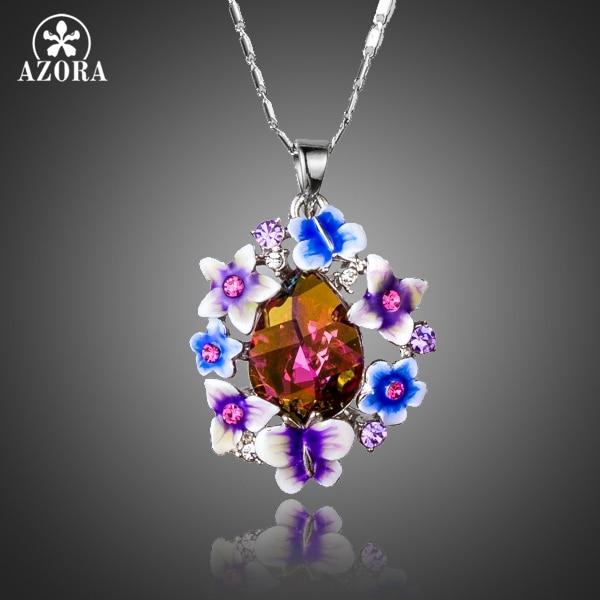 AZORA Multicolour Gorgeous Flower Butterfly Stellux Austrian Crystal Oil Painting Pattern Water Drop Pendant Necklace TN0175 цена 2017