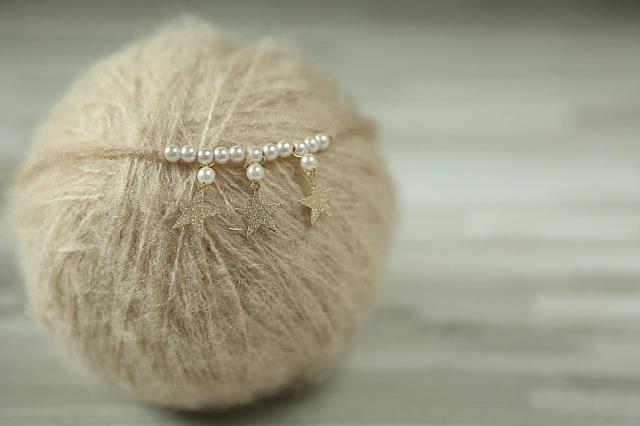 ręcznie wykonana opaska niemowlęca, opaska noworodka, perła - Odzież dla niemowląt - Zdjęcie 4