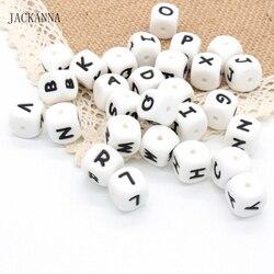 10 PCS Silikon Perlen Baby Beißring Perlen Für Schnuller Clips Custom Name 12 MM Kauen Alphabet Perlen Zahnen Spielzeug Baby zubehör