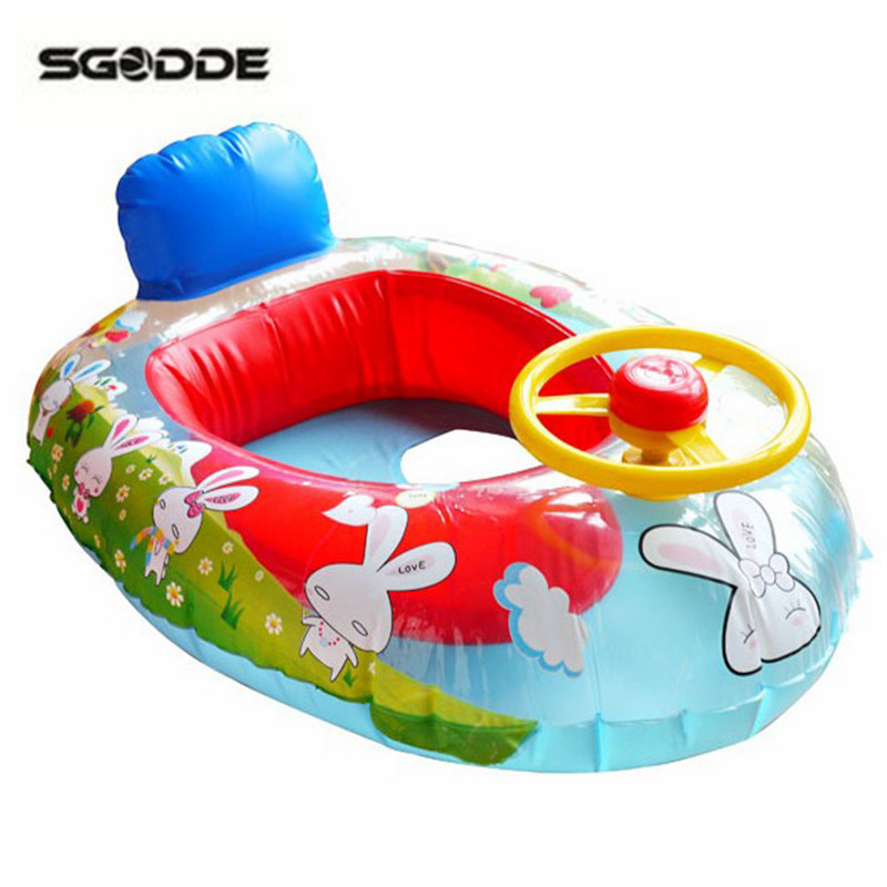 Wheel Horn Kids Swim Ring Seat Float Baby Pool Boat Inflatable Trainer Pool Inflating Float Summer Water Fun pool Toy accessory