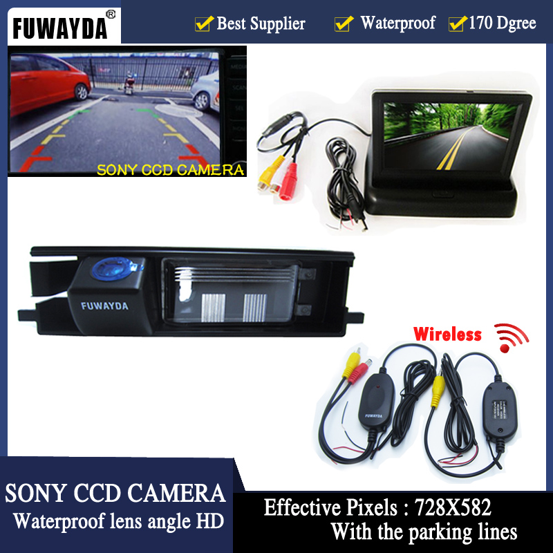 FUWAYDA Wireless 4.3 LCD Monitor Car Rear View Car SONY CCD Reverse Reversing Camera with parking lines for Toyota RAV4 RAV 4
