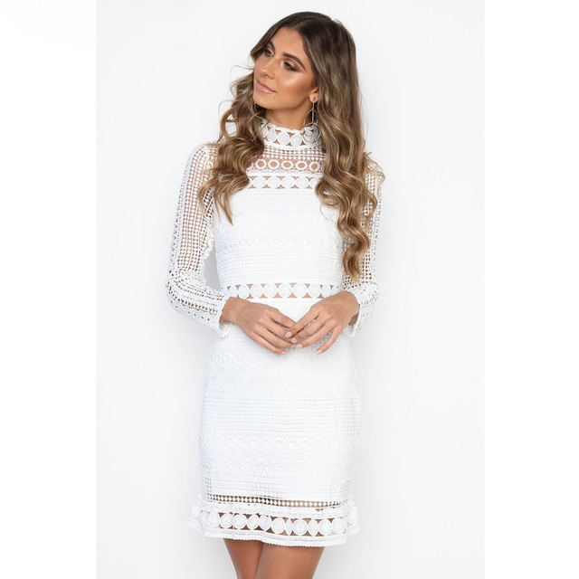 5343f38a34f0 2018 Autumn Dress Female Simple Elegant Hollow Out Lace Dress Women Long  Sleeve Style Midi Dress Casual Vestidos