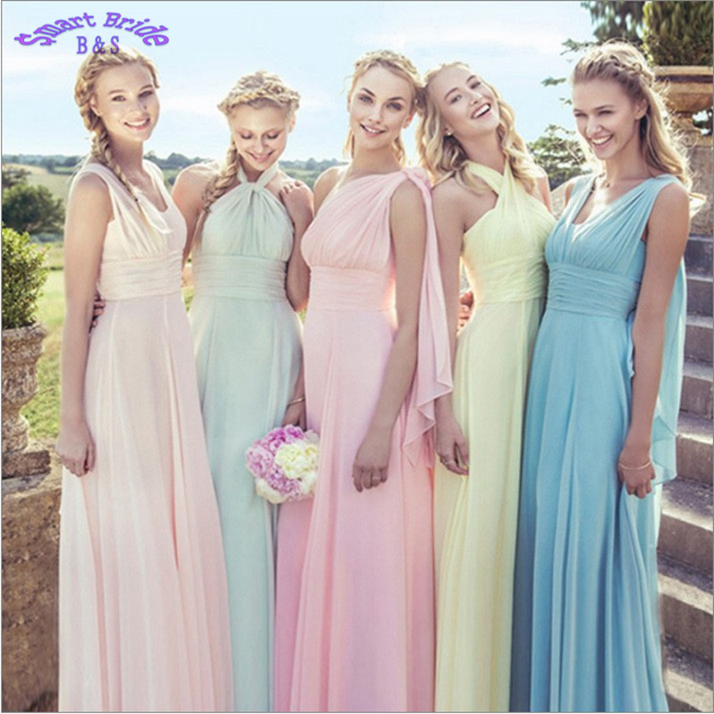 Chiffon   Bridesmaid     Dresses   Long for Women Elegant A-line Sky Blue Yellow Light Pink Wedding Party Gowns Lace Up Back Gown BD04