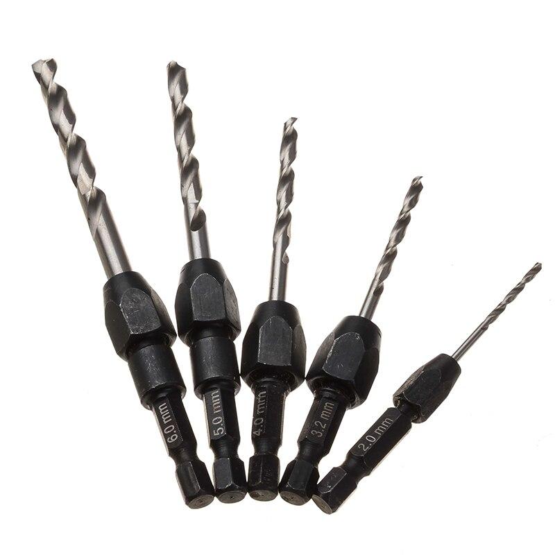 5PCS 2mm - 6mm Twist Drill Bit Steel Plate Hole Cutter Drill Drill Perforator Drill Bits Woodworking Tools Power Tools 6mm drill bit 145mm cutting diameter