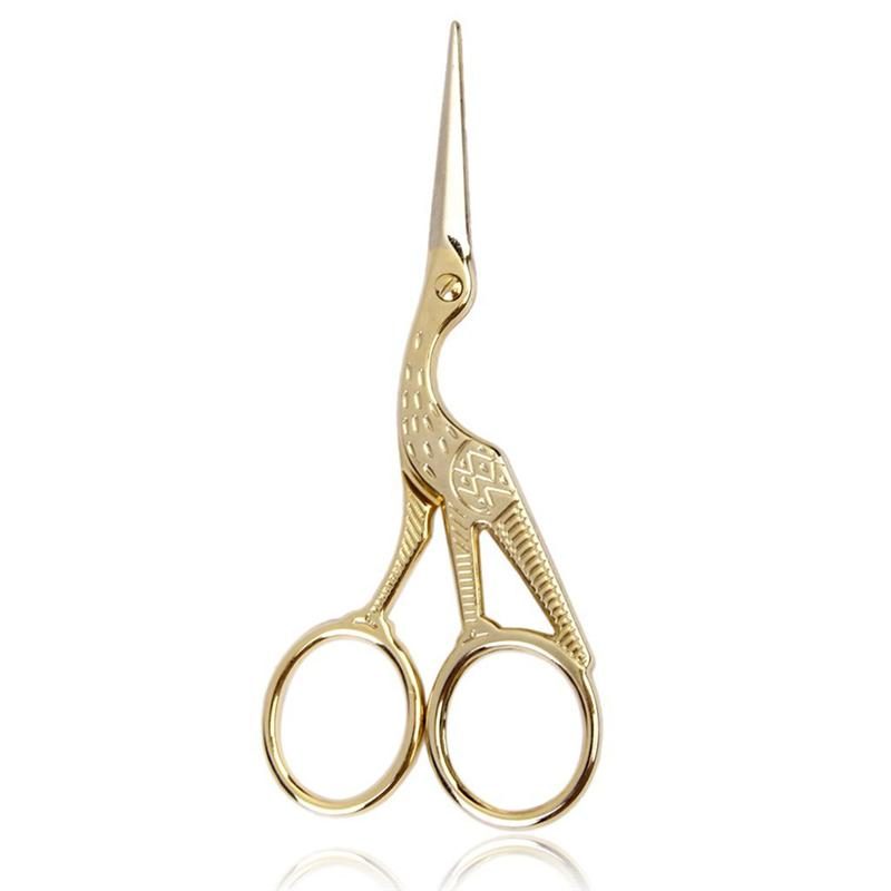 Stainless Steel Retro Tailor Scissor Crane Shape Sewing Small Embroidery Craft CrossStitch Scissors DIY Home Tools (Golden)