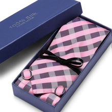 Mens Ties 40 Styles Tie Hanky Cufflink Set Business Gift For Men Pink Plaid wedding party  Free Shipping