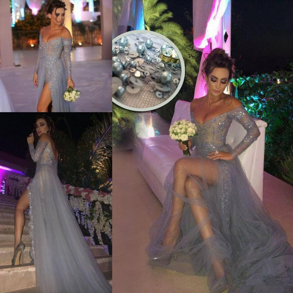 Silver 2019   Prom     Dresses   A-line V-neck Tulle Lace Pearls Slit Sexy Party Maxys Long   Prom   Gown Evening   Dresses   Robe De Soiree