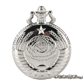 Reloj de bolsillo Vintage para hombres, mujeres, Steampunk, diseño de Hoz y martillo soviético, Clcok Fobs, collar antiguo de Rusia, regalos, cccp
