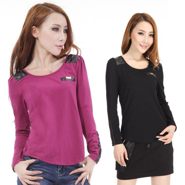 Women's summer slim black basic shirt plus size female o-neck long-sleeve T-shirt Women