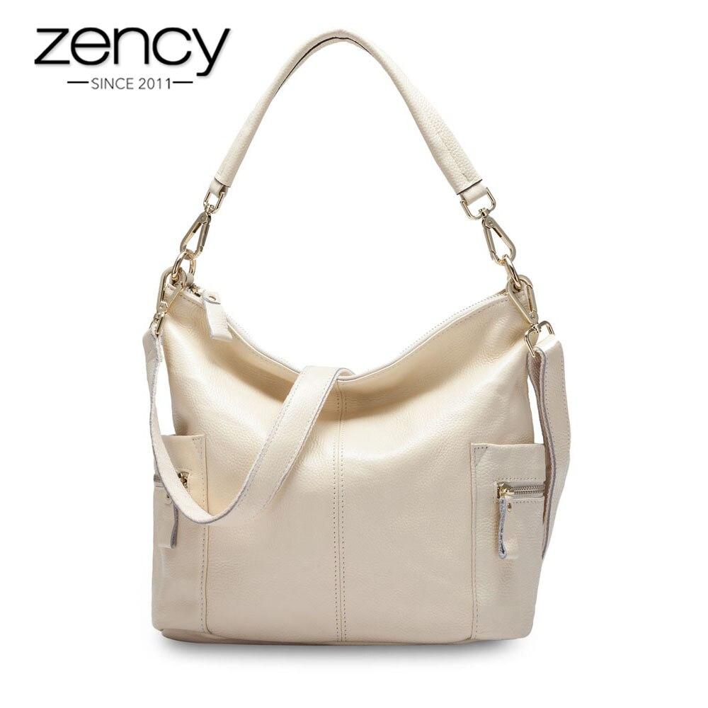 Zency Fashion Women Shoulder Bag 100 Genuine Leather Handbag Black Casual Tote Charm Lady Crossbody Messenger