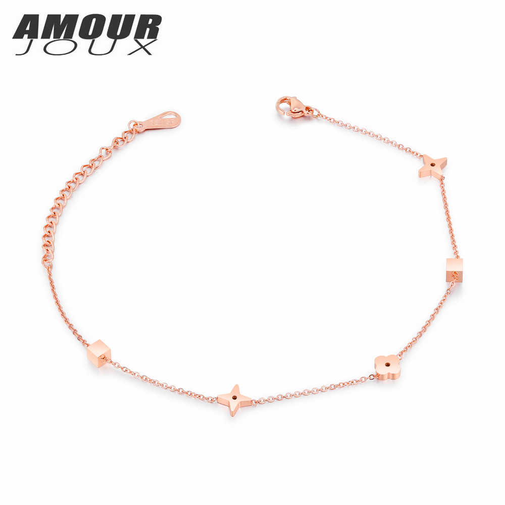 AMOURJOUX Pretty Small Star Square Charm Rose Gold Color Leg Anklets For Women 316L Stainless Steel Ankle Bracelet Foot Jewelry