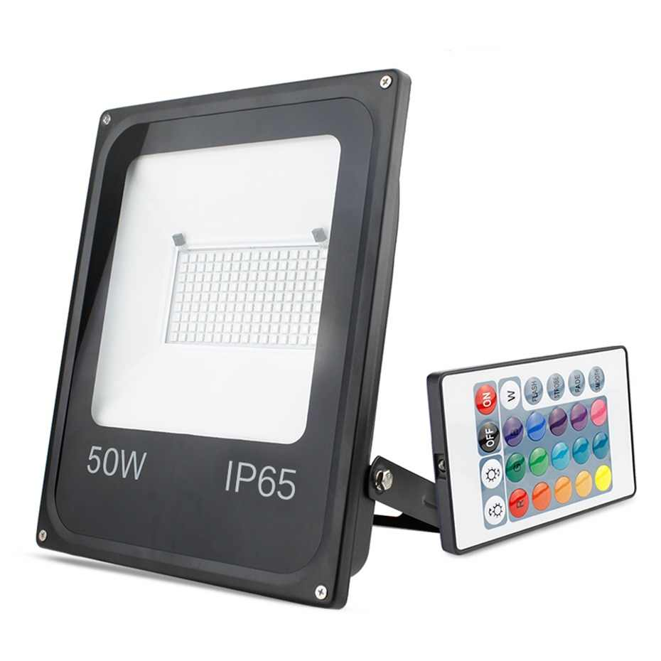 RGB LED Flood Light Outdoor Spotlight 20W 30W 50W Led Floodlight 16 Color SMD 5050 AC200-240V Reflector Led Waterproof IP65