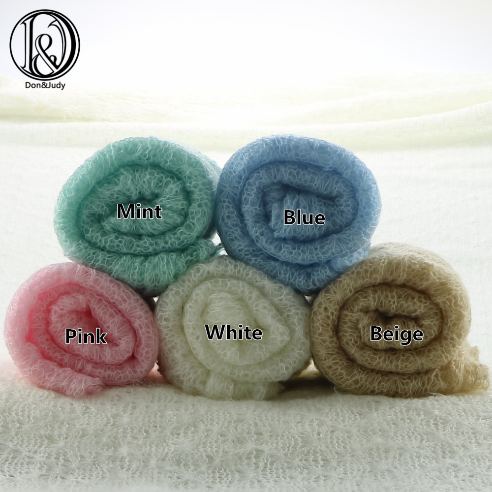 5pcs/lot 40x150cm  Stretch Soft Knit Mohair Newborn Wraps Baby Boy Girl Photography Blanket Knitted Infant Costume Newborn Props