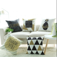 Nordic Black gold simple pillowcase Car cushion ins wind plush office sofa bedroom cute pillow Home decoration 45x45cm