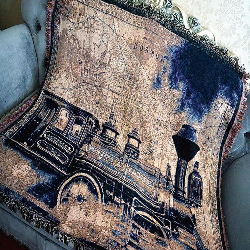 Потертый шик поезд хлопок винтажный ковер толстый Сельский стиль диван Плед покрывало для кровати гостиной спальни войлочные гобелены