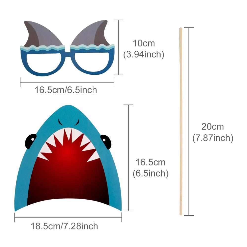 25PCS Photobooth Props Photo Decoration Baby Shark Birthday Party Decorations Kids Shark Party Decor Animal theme Party Supplies in Party DIY Decorations from Home Garden