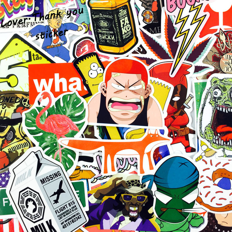 1000pcs Wholesale Funny Fashion Cool Skateboard Laptop Stickers Luggage Veneer Refrigerator Phone Toy Shape Vinyl Decals Gift cool funny bomb shape coin bank w sound