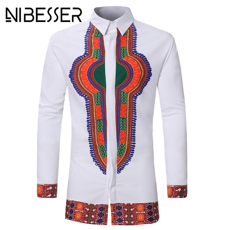 NIBESSER 2018 Men African Gypsy Ethnic Shirts Full Sleeve turn down Collar Traditional m ...
