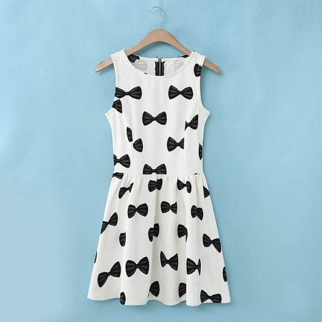 New Fashion women's Elegant Bow print dresses Sweet O-neck sleeveless casual slim dress evening party brand design dress