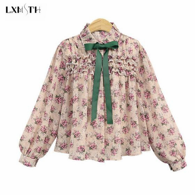 LXMSTH 2018 Spring Chiffon Blouses Ladies Fashion Flowers Blouse Women Long Sleeve Sweet Floral Printed Shirt Tops Woman Clothes