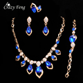 Hot Austrian Crystal Jewelry Sets For Women Gift Fashion 4 Colors Necklace+Earrings+Bracelet+Ring Gold Plated Party Jewelry Sets