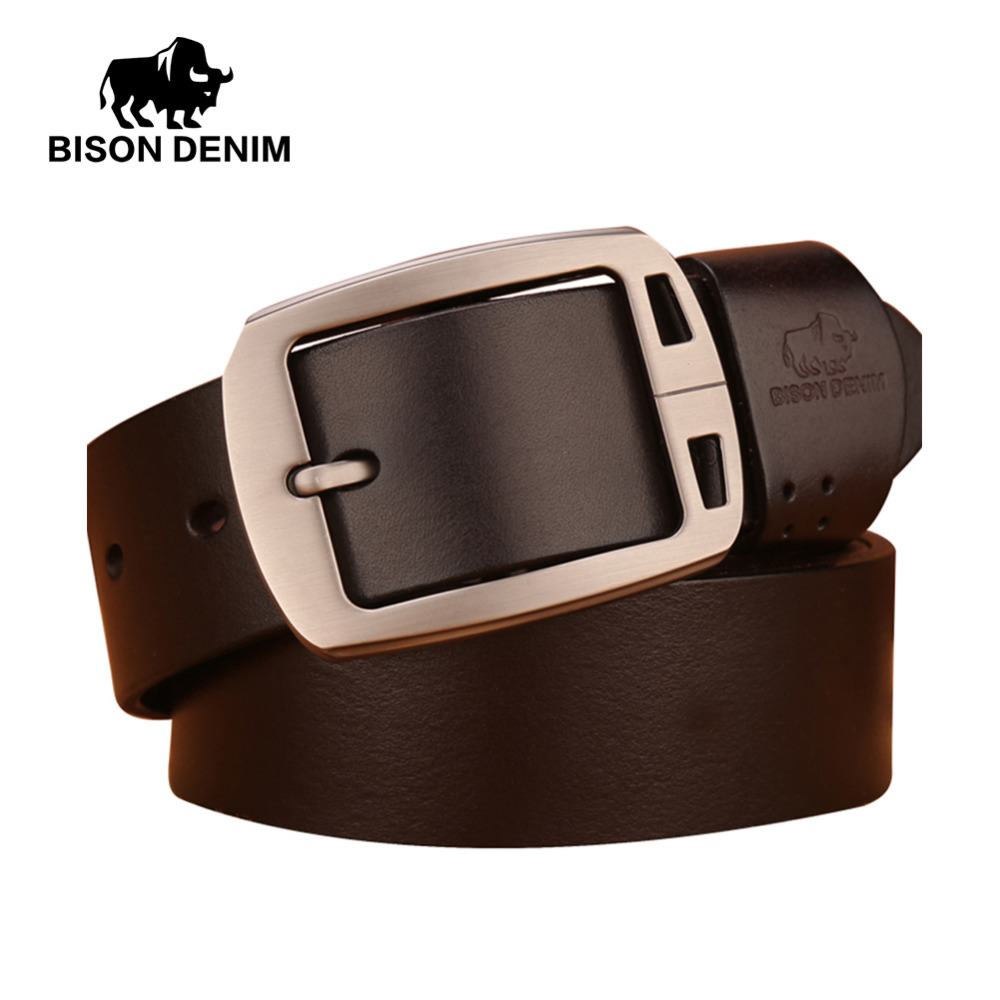 BISON DENIM Italian 100 top Cow Leather Belts Alloy Buckle genuine leather vintage pin buckle ceinture