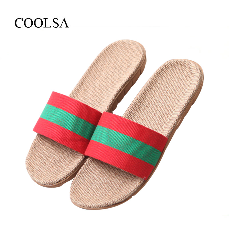 COOLSA Women's Summer Striped Linen Slippers Breathable Indoor Non-slip Flax Slippers Women's Slippers Beach Flip Flops Slides coolsa women s summer flat cross belt linen slippers breathable indoor slippers women s multi colors non slip beach flip flops