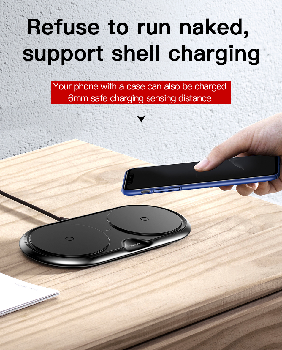 Wireless Charger of Baseus Dual For iPhone X XS Max Xr Samsung S9 S8 Note 8 9 10W Fast Wireless Charging Pad Dock Station Desktop 16